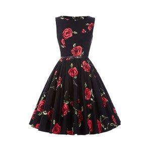 Floral-25 Boatneck Vintage Tea Belted Dress
